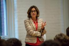 Sallie Hughes lectures to faculty and students at Williams Hall, Global Commons.
